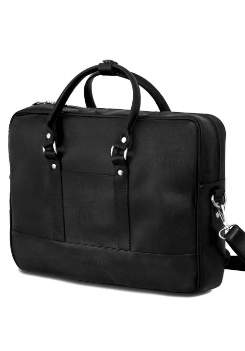 Черная сумка для ноутбука из экокожи Solier S04 Black