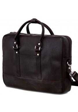 Фото Коричневая сумка для ноутбука из экокожи Solier S04 Dark Brown