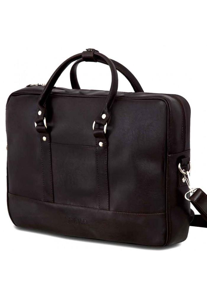 Коричневая сумка для ноутбука из экокожи Solier S04 Dark Brown