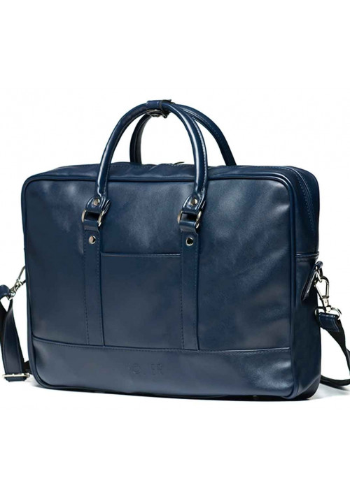 Синяя сумка для ноутбука из экокожи Solier S04 Blue