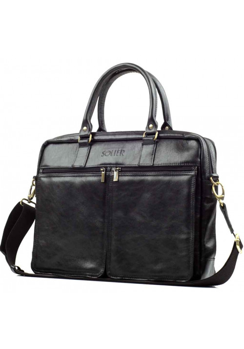 Кожаная сумка для ноутбука 17 дюймов Solier SL01 Black