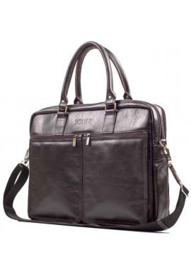 Фото Кожаная сумка для ноутбука 17 дюймов Solier SL01 Brown