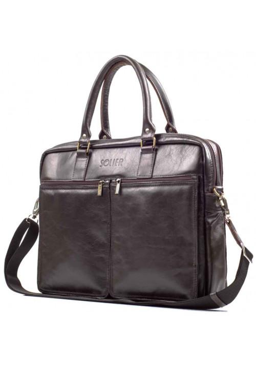 Кожаная сумка для ноутбука 17 дюймов Solier SL01 Brown
