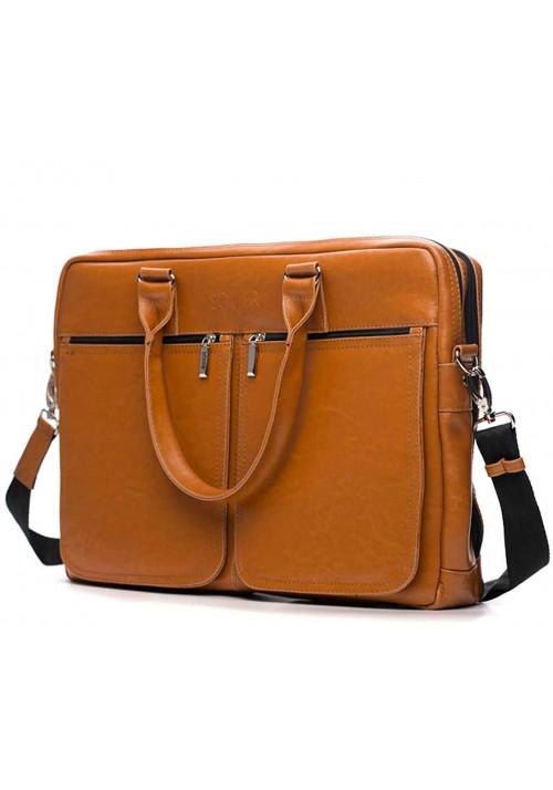 Кожаная сумка для ноутбука 17 дюймов Solier SL01 Camel