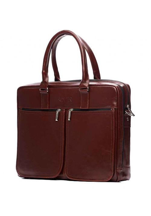 Кожаная сумка для ноутбука 17 дюймов Solier SL01 Maroon