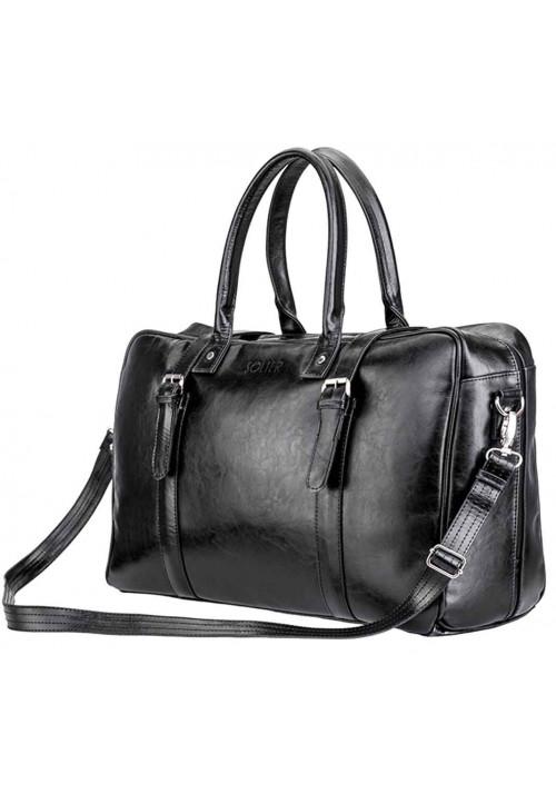 Мужская дорожная сумка из кожи Solier SL16 Black