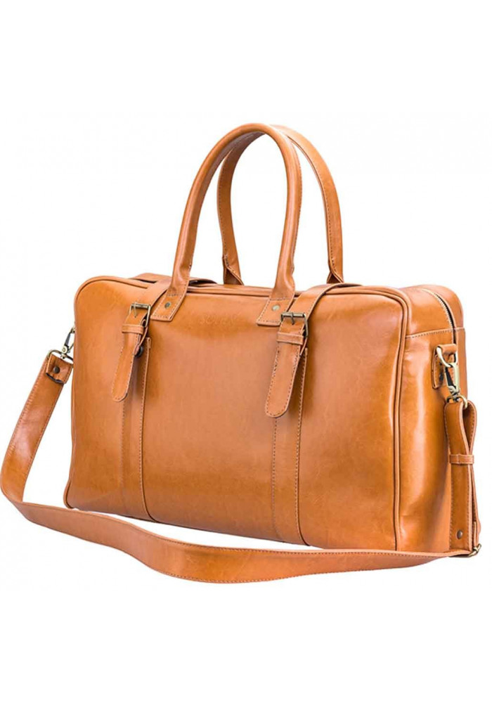Фото Мужская дорожная сумка из кожи Solier SL16 Camel