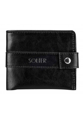 Фото Мужской черный бумажник из кожи Solier SW05 Black