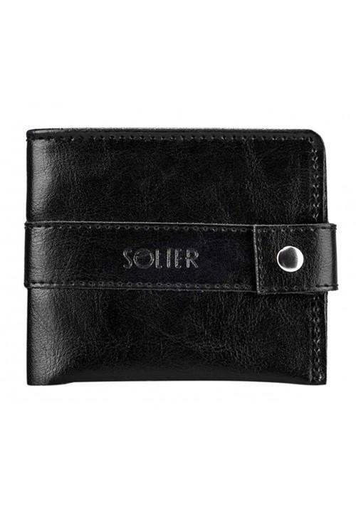 Мужской черный бумажник из кожи Solier SW05 Black