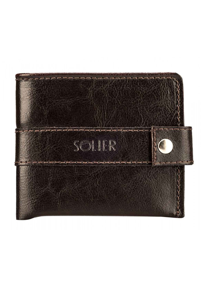 Мужской коричневый бумажник из кожи Solier SW05 Brown