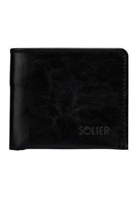 Фото Кожаный кошелек без застежки Solier SW05B Black