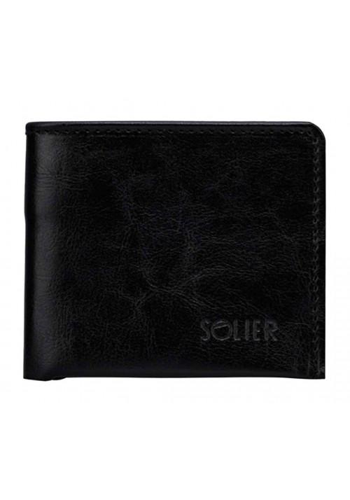 Кожаный кошелек без застежки Solier SW05B Black