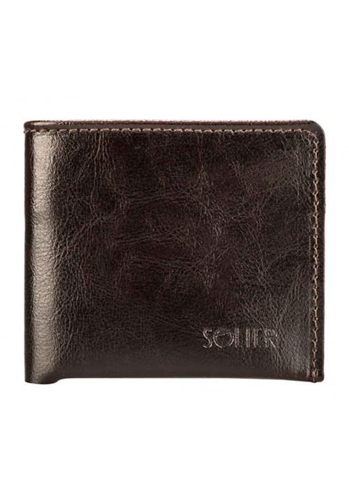 Кожаный кошелек без застежки Solier SW05B Brown