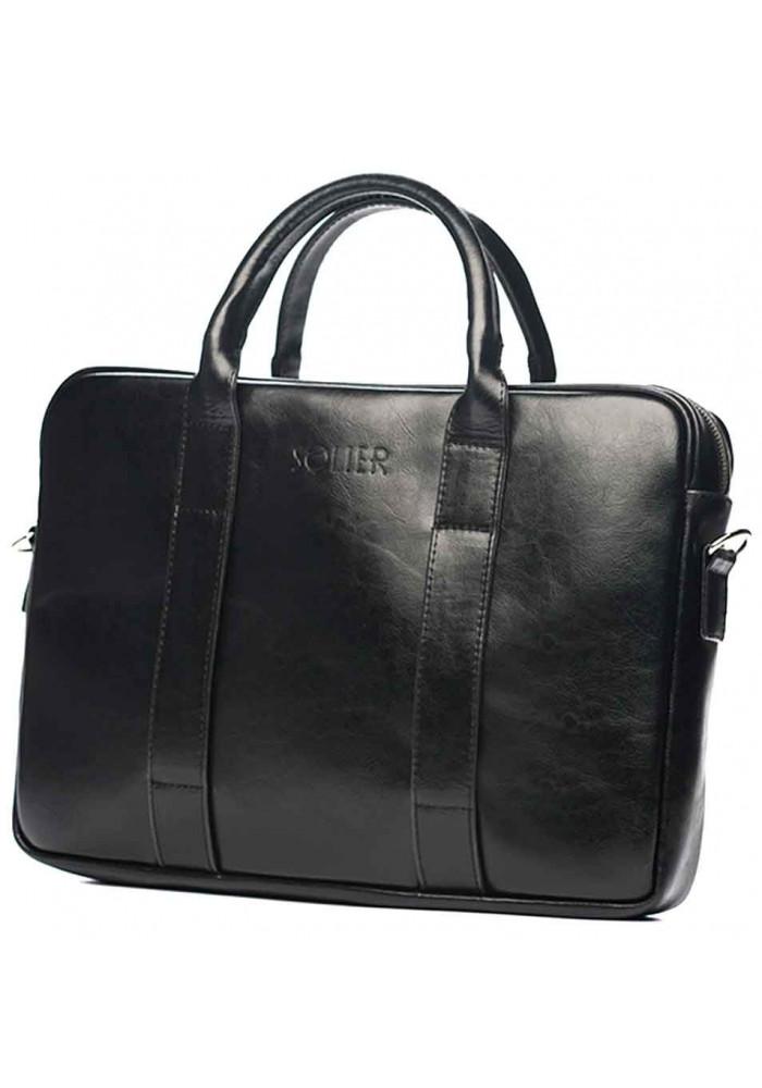 Кожаный портфель для ноутбука Solier SL20 Black