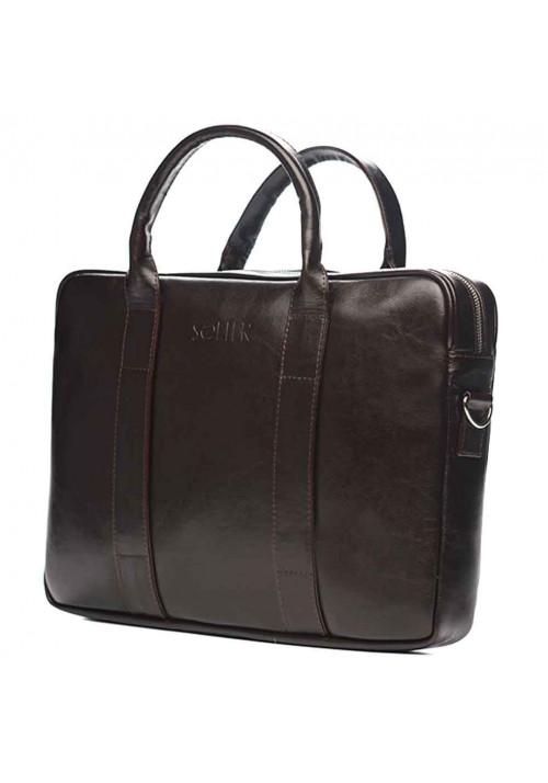 Кожаный портфель для ноутбука Solier SL20 Brown