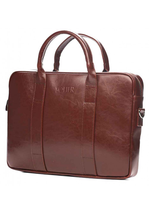 Кожаный портфель для ноутбука Solier SL20 Maroon