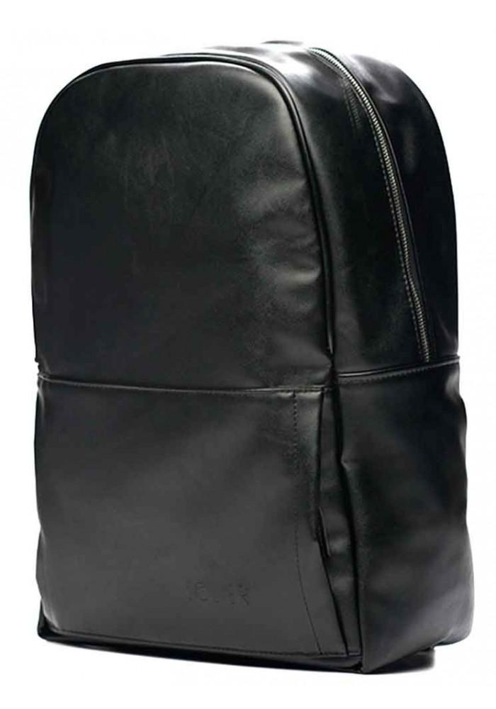 Черный кожаный городской рюкзак Solier SR01 Black