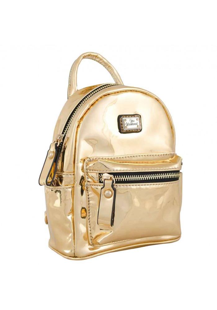Золотой лаковый женский рюкзак-сумочка YES WEEKEND Mirorr gold