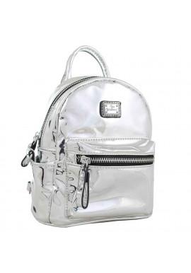 Фото Серебряный лаковый женский рюкзак-сумочка YES WEEKEND Mirorr silver