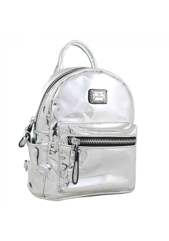 Серебряный лаковый молодежный рюкзак-сумочка YES WEEKEND Mirorr silver