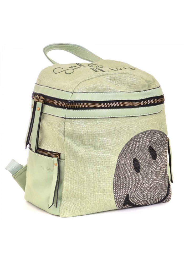 Женский рюкзачок со смайликом YES WEEKEND зеленый