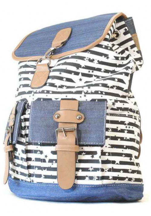 Рюкзак молодежный с черным принтом