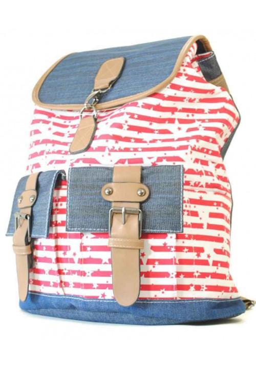 Рюкзак молодежный с красным принтом