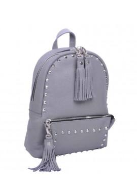 Фото Кожаный женский рюкзак с заклепками Pilot-S Grey Rock