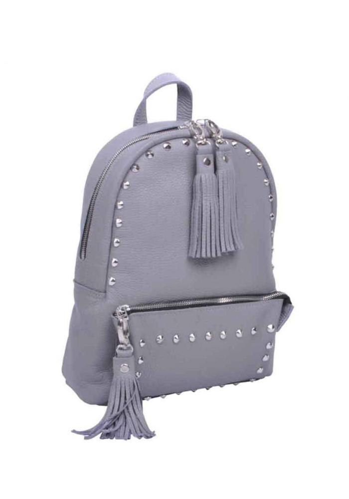 Кожаный женский рюкзак с заклепками Pilot-S Grey Rock