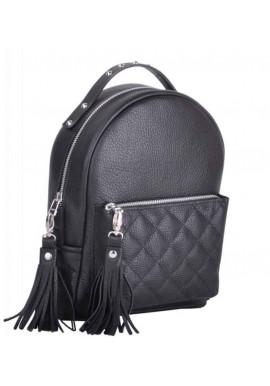Фото Черный кожаный женский рюкзак Sport New Black