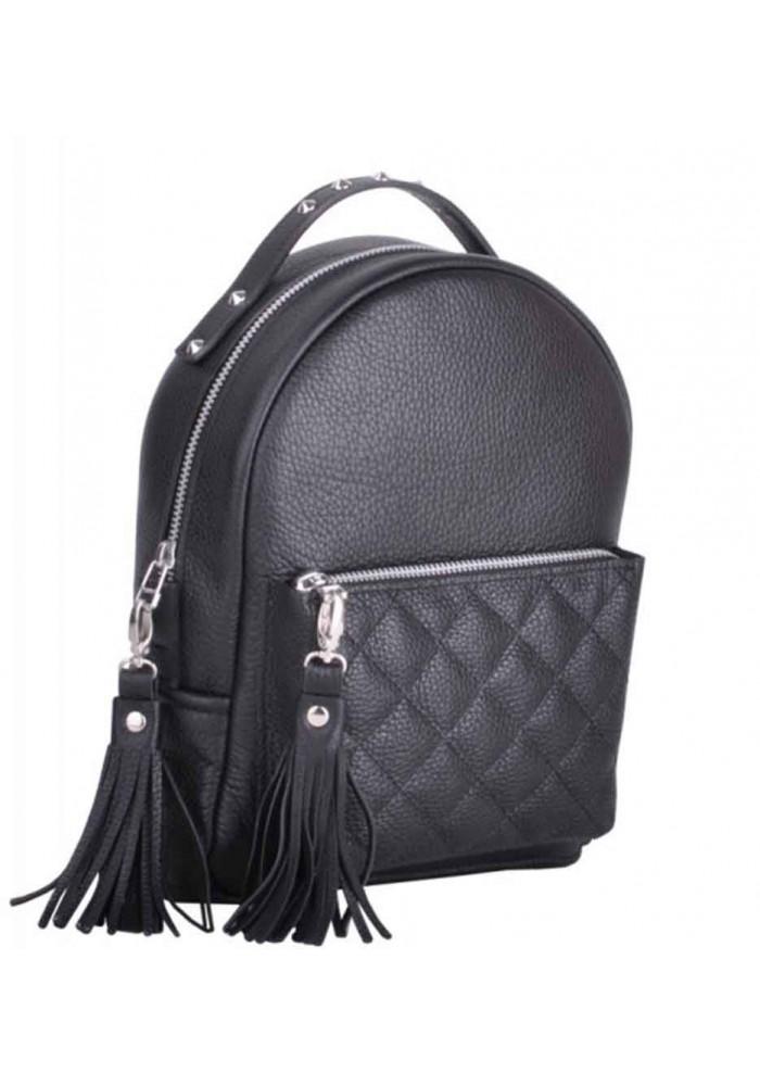 Черный кожаный женский рюкзак Sport New Black