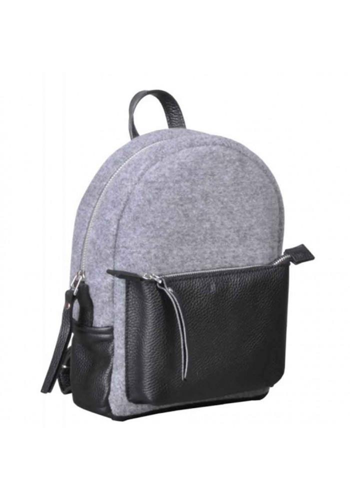 Женский рюкзак из войлока и кожи Sport Felt Grey Black