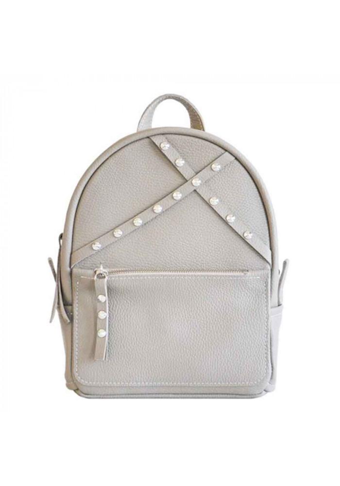 Летний кожаный женский рюкзак Sakura Beige