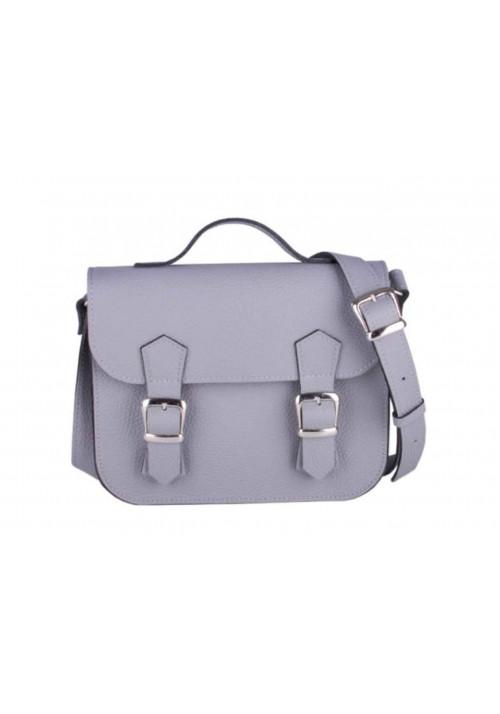 Женский кожаный мини портфель Satchel Mini Grey