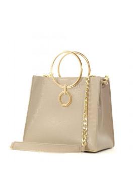 Фото Летняя женская сумочка-клатч Betty Pretty бежевая матовая
