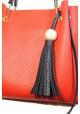 Красная женская сумка с черной кисточкой Betty Pretty, фото №5 - интернет магазин stunner.com.ua