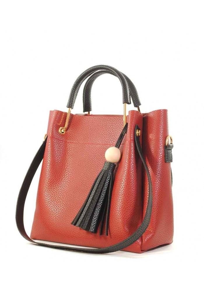 Бордовая женская сумка с черной кисточкой Betty Pretty