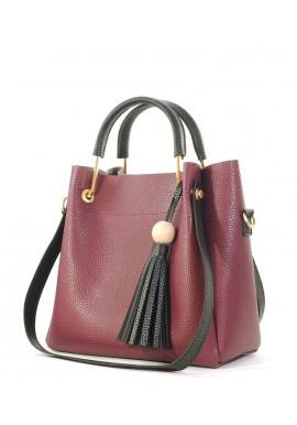 Фото Женская сумка бордового цвета с черными ручками Betty Pretty