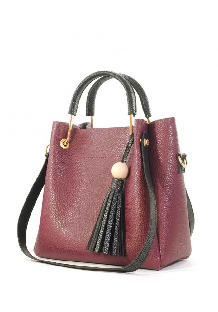 Женская сумка бордового цвета с черными ручками Betty Pretty