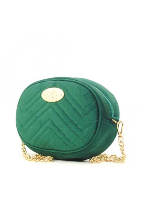 Велюровая женская сумка на пояс Betty Pretty зеленая