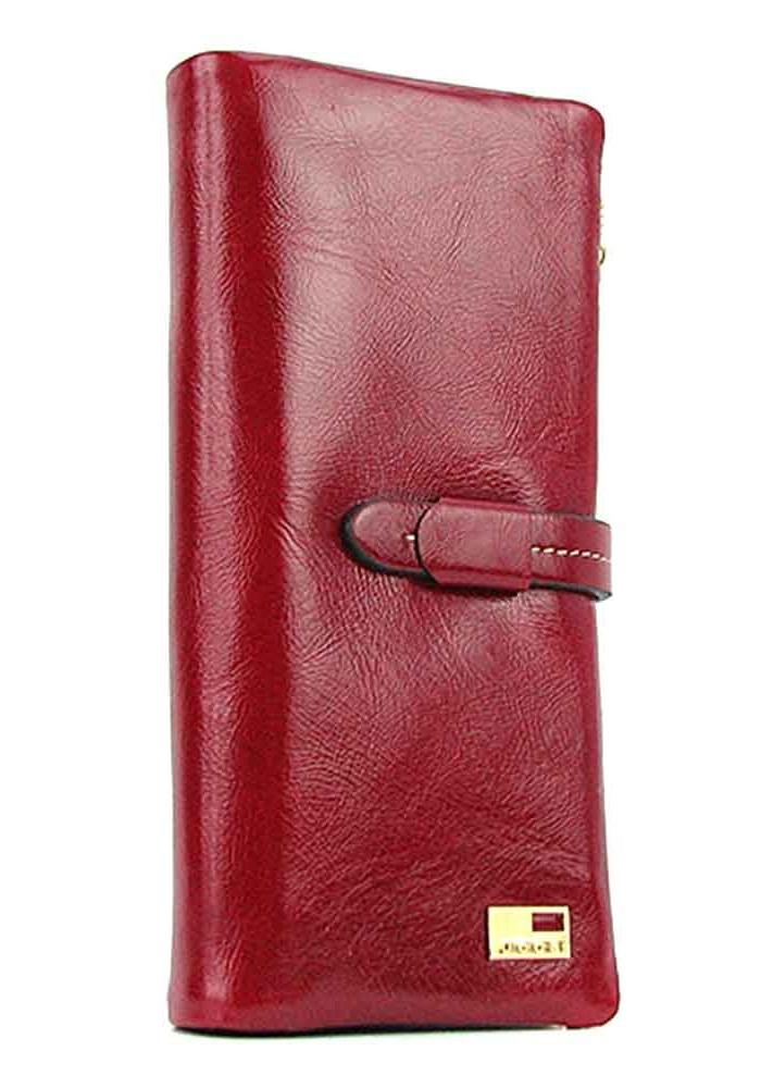 Кожаный красный женский кошелек со сгибом JS 1028