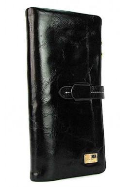 Фото Кожаный черный мягкий женский кошелек JS 1028