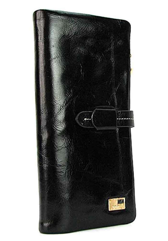 Кожаный черный мягкий женский кошелек JS 1028