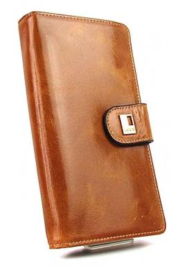 Фото Кожаный рыжий женский кошелек JS 3078
