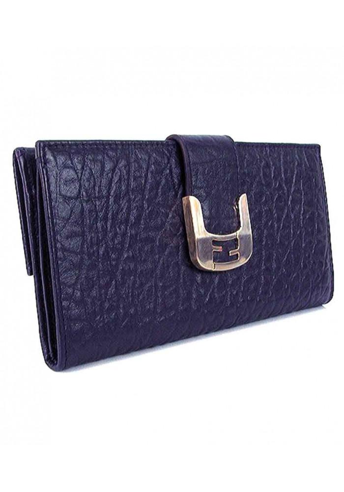 Кожаный синий женский кошелек FENDI 917