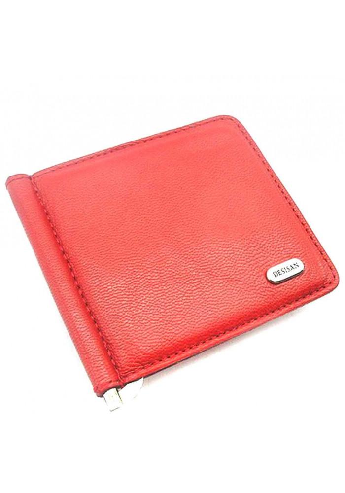 Красный зажим для денег кожаный Desisan 208-1