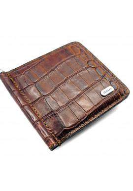 Коричневый зажим для денег кожаный Desisan 208-15 кроко