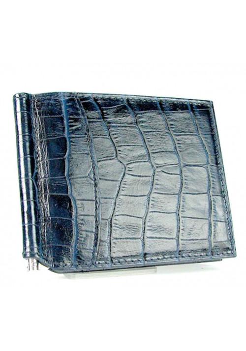 Синий кожаный зажим для денег Canpellini 070
