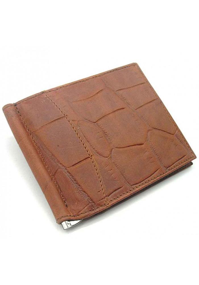 Коричневый кожаный зажим для денег Canpellini 070
