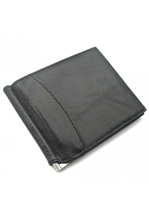 Зажим для денег из черной гладкой кожи Canpellini 070